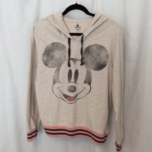 Gray Distressed Mickey spring* weight hoodie